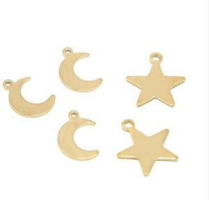 20pcs Gold Plated Stainless Steel Charms Moon Star Pendents for DIY Jewelry Make