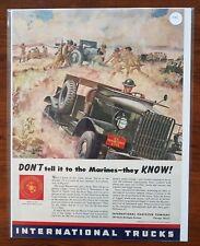 1941 International Trucks Dont Tell It to the Marines USMC Art Vintage Print Ad