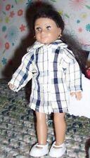 """Fit 6.5 """" Mini Dolls plaid shirt dress summer coat white shoes clothes 2pc lot"""