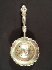 ANTIQUE STERLING SILVER TEA STRAINER w/ FIGURAL HANDLE