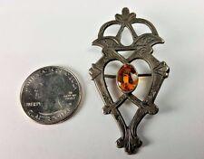 Antique Scottish Citrine Silver Celtic Pin Brooch