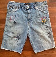 Polo Ralph Lauren Big Boys Graphic Denim Blue Jean Shorts Size XL 18-20