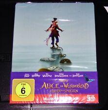 ALICE IM WUNDERLAND HINTER DEM SPIEGEL STEELBOOK 3D BLU RAY + BLU RAY NEU & OVP