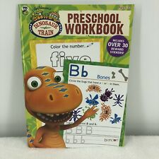 DINOSAUR TRAIN 46 Page Preschool WORKBOOK & 30 + STICKERS Color Numbers Letters