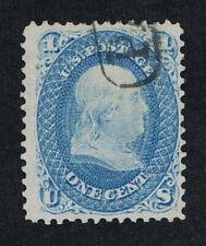 GENUINE SCOTT #63 F-VF USED 1861 BLUE SKINNER ENO BOSTON PAID CANCEL PM-PF-12