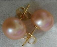 HOT Perfect 12-13mm gray gold white black South Sea Pearl 14K Gold  stud Earring