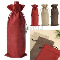 5/10 Linen Bags Wedding Holiday Parties Decor Wine Bottle Bag Gift Pouch 16x36Cm