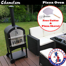 Outdoor Garden Pizza Oven Charcoal BBQ Grill 2-Tier Freestanding with Chimney
