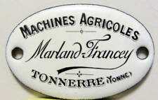 MACHINES AGRICOLES MARLAND FRANCEY PLAQUE EMAILLEE A TONNERRE YONNE  AGRICOLE