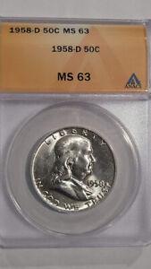 1958-D Franklin Half Dollar Certified ANACS MS-63  - Sharp !
