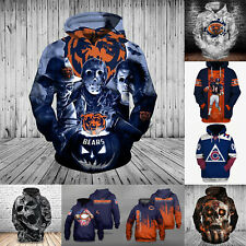 Chicago Bears Football Hoodies Sweatshirt Men's Casual Pullover Jacket Fan Coat