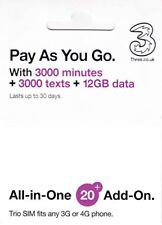 UK Europe 30days Prepaid SIM Card 12GB Unlimited call 71 Countries Three Network