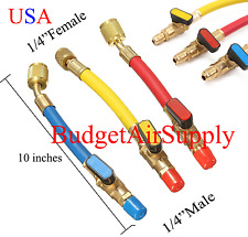 "3 pcs Charging Hose Ball Valve Color Coded 10"" HVAC 1/4""SAE R410a/R134a+Shutoffs"