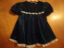 Baby Girl's Green Velvetine Short Sleeve Dress Size 12 Months