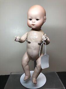 "10"" Antique German Recknagle Baby Compo Body Bisque Head Brown Sleep Eyes #Me"