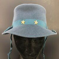 True Vintage Milford Wool Womens Hat Cadet Metal Stars Military Tie Original