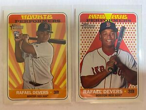 (2) RAFAEL DEVERS 2018 TOPPS HERITAGE RC ROOKIE INSERT LOT RED SOX