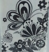 Vintage Gibson Party Crepe Paper Tablecloth Black White Floral