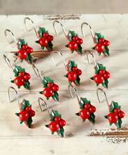 The Lakeside Collection Set of 12 Christmas Mistletoe Shower Curtain Hooks