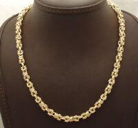 "18"" Technibond Shiny Round Byzantine Chain Necklace 14K Yellow Gold Clad Silver"
