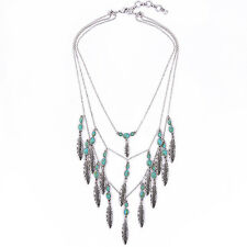 Oval Blue Turquoise Feather Charms Pendant Necklace Triple Layer Leaves Cluster
