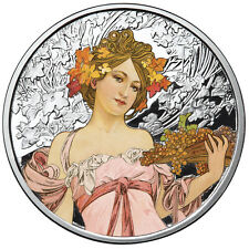 ALPHONSE MUCHA CHAMPAGNE WHITE STAR 1 OZ SILVER COIN COLORIZED #4 IN SERIES COA