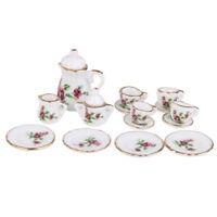 1/12 Doll House Miniature Porcelain Tea Set Dish Cup Plate Red Peony Y1O5