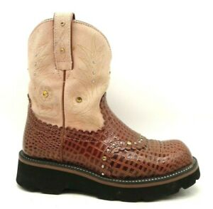 Ariat Fatbaby Brown Animal Print Studded Leather Cowboy Boots Shoes Women's 6 B