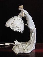 PMP Plaue Lampe Gold Riesig 40 cm Lithophanie Figur Schreibtischlampe Jugendstil