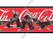 Genuine Vintage Red Coca Cola Coke Soda Bottles Caps Wall paper Border Roll
