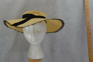 old hat wide brim natural straw WWII antq vtg original 1940