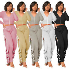 Fashion Women Solid Color Zipper Long Sleeves Side Ruffle Casual Bodysuit 2pcs