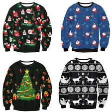 Unisex Womens Men Knitted Jumper Santa Reindeer Xmas Sweater Hoodie Pullover Top