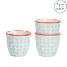 Flower Plant Pot Ceramic Porcelain Indoor Garden - Turquoise / Red Swirl - x3