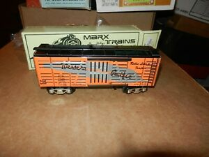 MARX #7342-0 Western Pacific Box Car,  Slotted,  New Production, OB, 8 Wheel