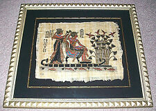 EGYPTIAN PAINTING PAPYRUS PAPER GOLD FRAME KARNAK GALLERY KING TUT & BRIDE NILE