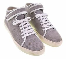 Common Projects 1330 Gray Leather Perforated Mid Top Hook & Loop Sneakers 43