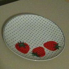 "Vintage Takahashi Strawberry Polka Dot 7.5"" Plate San Francisco"