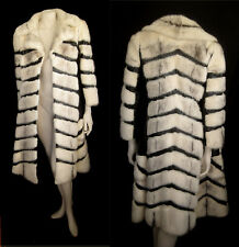 Knockout! Retro White Black Cross MINK Fur Coat Jacket ~Luxury gift ~No monogram