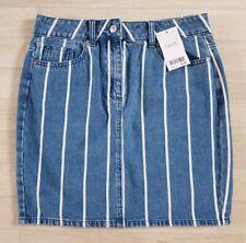 DENIM SKIRT size 10 striped NEXT mini BLUE white SUMMER holiday