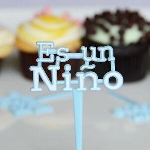 12x Blue Es Un Nino Cupcake Picks for Baby Shower Its a boy