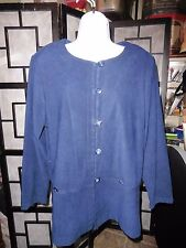 R & K ORIGINALS Jacket Top Womens Loop Button Long Sleeve Blue Blazer Sz 16