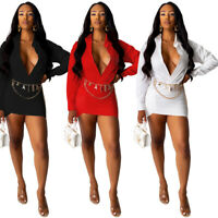 New Women Solid Color Deep V Neck Long Sleeves Bodycon Clubwear Party Mini Dress