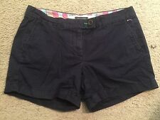 TOMMY HILFIGER Dark Navy Blue Cotton Flat Front Casual Shorts womens 6