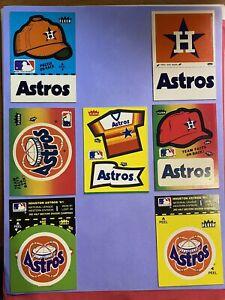 Vintage 1980's Houston Astros Fleer Team Baseball Sticker Lot of 7 Different