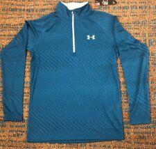 NWT Men's Sz S Under Armour 1/4 Zip TEAL Pullover Long Sleeve Shirt 1325144 $40