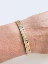 "14K Gold Tri Colored Omega Style Bracelet 7"""