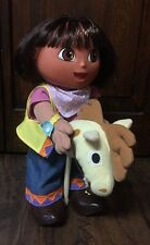 "2002 Fisher Price Talking Dora the Explorer Cowgirl w/Stick Horse 12"" Doll EUC"