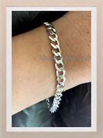 Bracelet Gourmette diamantée Maille Plate 6MM X 20CM En Argent Massif 925/1000