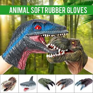 Soft Rubber Animal Head Shark Dinosaur Hand Puppet Raptor Realistic Kids Toy